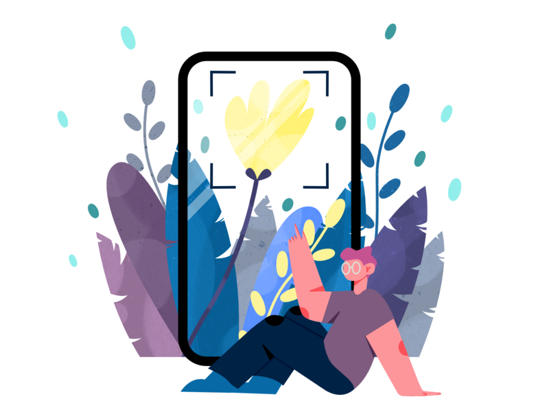 Illustration for Mobile app about flowers