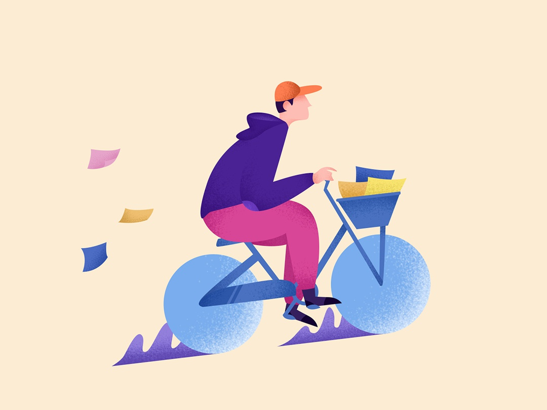 Postman postman mailing mailer bycicle post mailbox email mail illustrator flat noise go on first shot bright flat illustration illustration