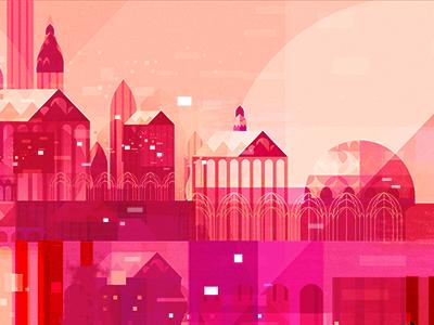 Pink City vector architecture geometric illustration