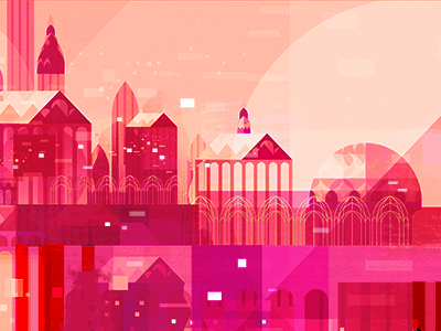 Pink City vector architecture geometric illustration
