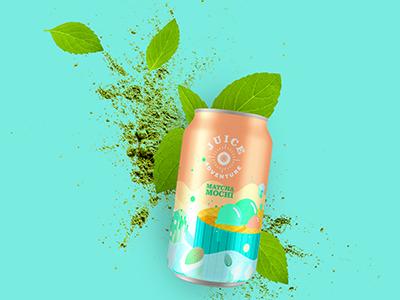 Matcha Mochi illustration branding design food and drink logo branding packagingdesign can juice beverage food