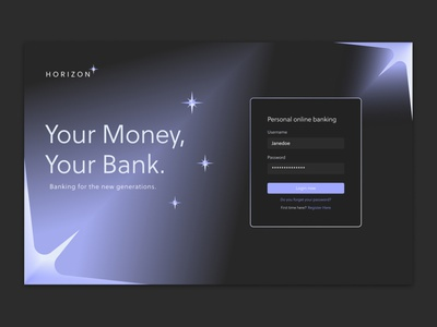 Horizon ui login landing landingpage financial finance acounting banking bank horizon