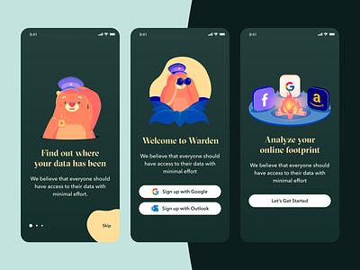 Privacy App Onboarding ui design ux ui inspiration green warden ios app design