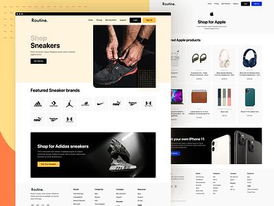 Routine - Shop Layout Exploration ux creative concept clean ui web design local marketplace delivery app delivery design ui design