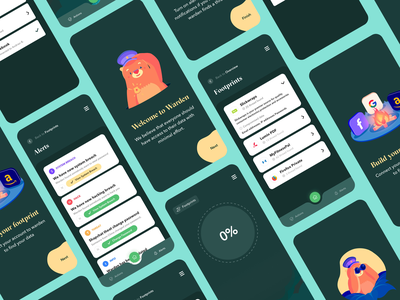 Warden - App UI clean ui cards after effects mvp security footprint privacy character design ios ui app animation