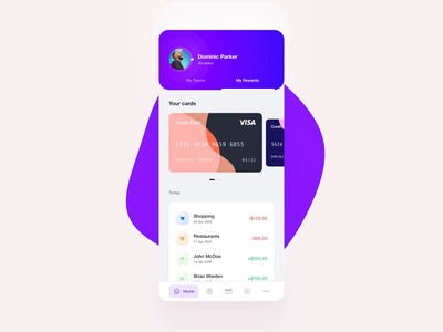 Sports Fan App - Cards & Loyalty ui colors mobile ios transactions cards banking financial loyalty sports vividmotion app design animation