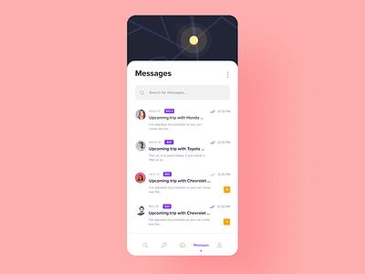 Vehicle Renting - Messaging vividmotion conversation ios chat messaging prototype ux design ui animation rent a car rent