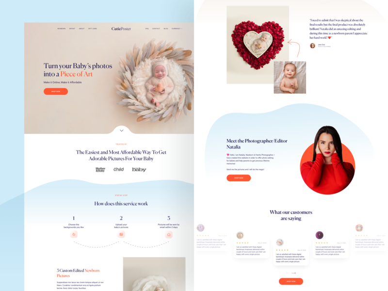 CutiePoster - Ecommerce landing page poster clean concept pastel soft playful ecommerce mom baby landing web design ui design