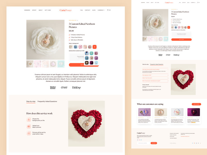 CutiePoster - Product Page web creative concept web design ui design soft clean baby ecommerce design