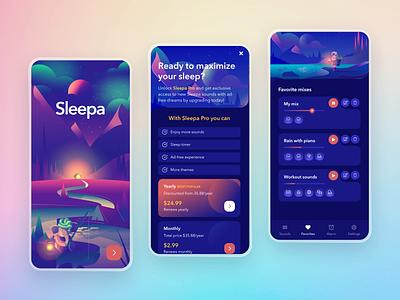 Sleepa - Sleep Sounds Redesign sounds sleep sketch mobile ui character illustration dark mobile app animated design