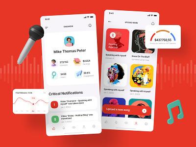 Alfan - UI Preview app clean light theme cards followers music influencer social creators figma ios design ui