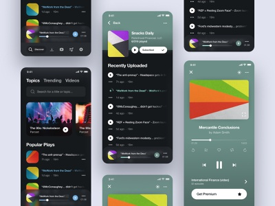 Podcasting App - UI Exploration ux uidesign figma minimal dark mode song player clean ios app podcasting ui design