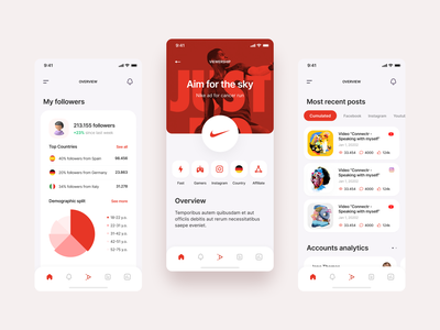 Alfan App - Overview minimal ui design ux posts accounts administration influencer socialmedia mobile ui figma ios design