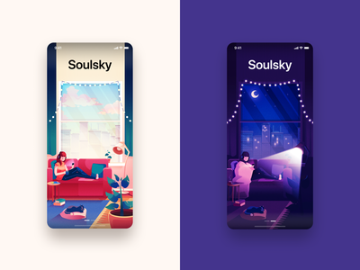 App Onboarding - Day & Night creative steps ui design clean concept meet new people chat application design day night cozy illustration onboarding ui app