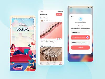Social Chat App UI mobile app app social illustration chat uiux ui design