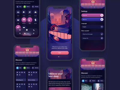 Sleep Sounds - App Design app ui design mobile relax meditation sleep mascot illustration ios animation ui design