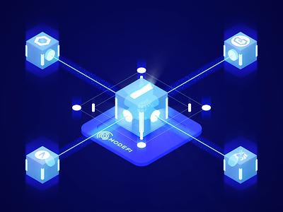 Blockchain Oracle Solutions - 3D Illustration animation glow neon oracle decentralized defi blockchain illustration design 3d