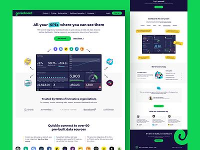 Geckoboard - Landing Page Redesign data dashboards uiux playful ui design web design design saas landing page