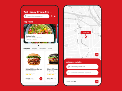 Food.ie - Food Delivery Marketplace v2 product delivery restaurant app food clean ux ui red mobile app design