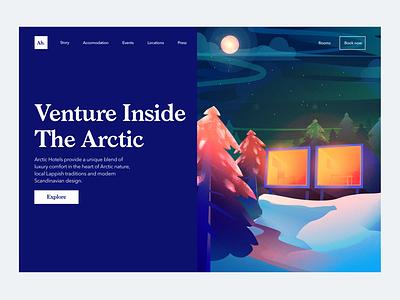Arctic Hotel Landing ui design vector blue trees nature hotel arctic web design illustration web ui design