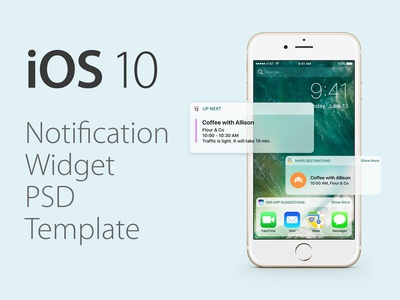 iOS 10 Notification Widget PSD Template