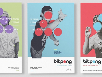 Bitpong Poster Series vintage geometric color bar retro pong ping beer circles dots posters poster