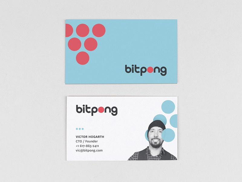 Bitpong Business Card color geometric pong beer card business