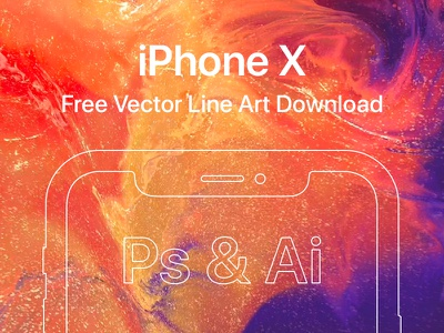 Free iPhone X Vector File (PSD + Ai) ios line ps photoshop illustrator ai download psd vector x iphone iphonex
