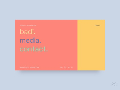 badi menu - concept design colorful color creative webdesign web design ux ui