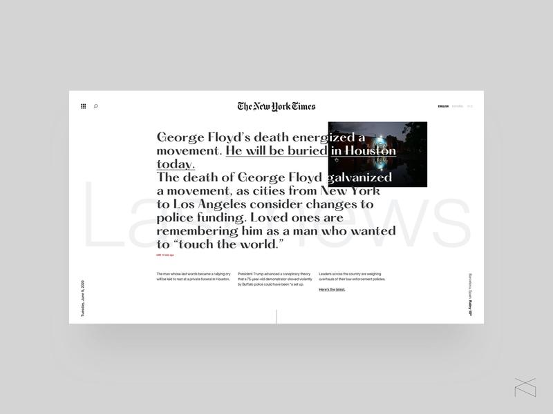 the new york times concept - hover behavior web visual design newspaper creative minimalism design ux ui