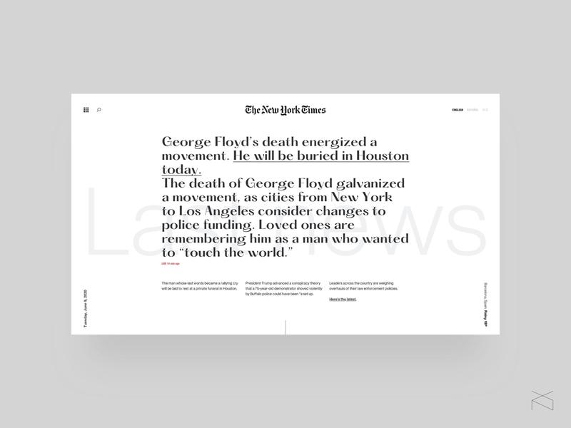the new york times concept digital webdesign clean newspaper minimalism creative web design ux ui