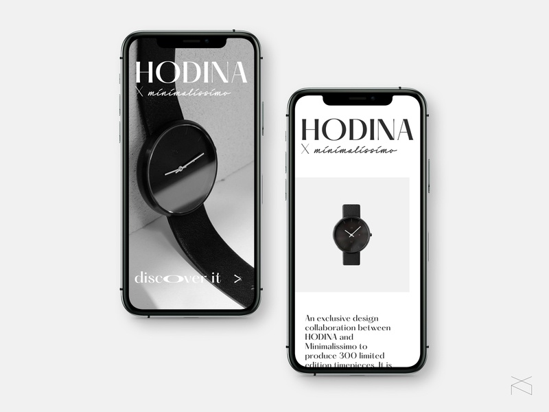 Hodina x Minimalissimo - concept landing page mobile creative digital concept user experience watch interactive minimalism ux ui