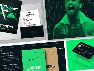 WINNERS |  Brand Collateral digital print green brand identity sports betting sports branding