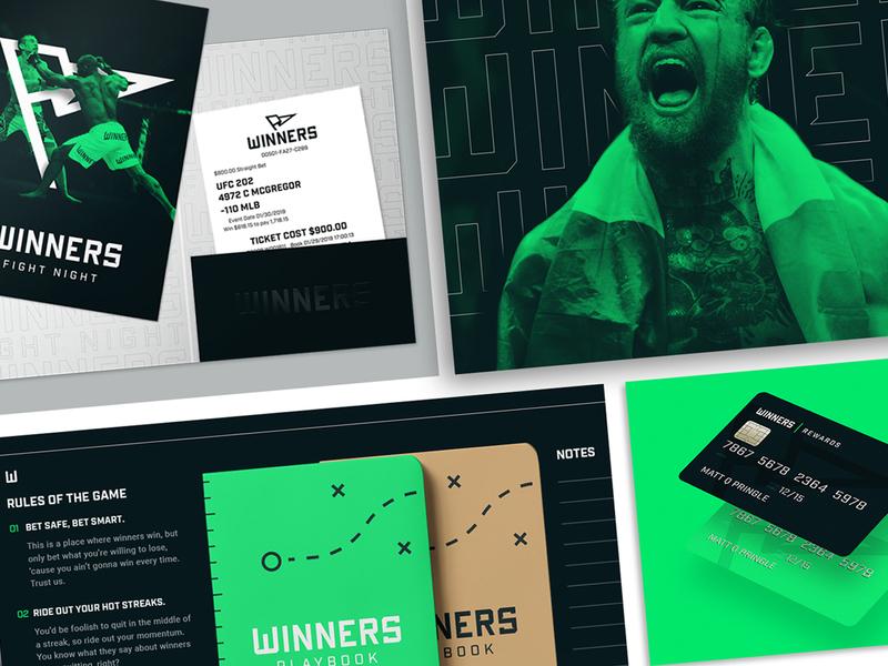 WINNERS    Brand Collateral digital print green brand identity sports betting sports branding