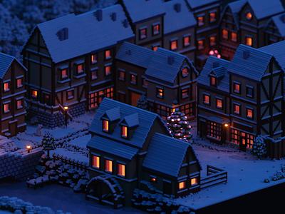 Let it snow! voxel art magicavoxel village snow lowpoly 3d isometric voxel