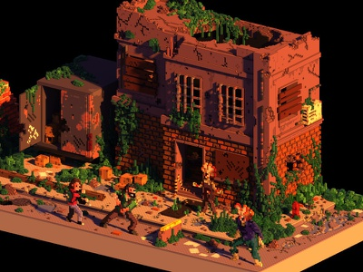 The Last of Us last of us voxel art videogames voxel magicavoxel lowpoly isometric 3d