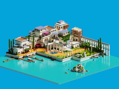 The Island voxel art voxel magicavoxel lowpoly isometric 3d