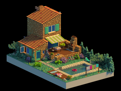 The South of France voxel art france magicavoxel voxel isometric lowpoly 3d