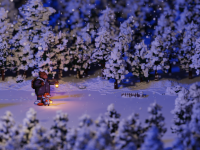 The frozen forest concept art snow pixel art voxel art voxel lowpoly magicavoxel isometric 3d