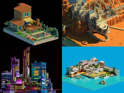 My top 4 of 2018 pixel art illustration voxel art lowpoly voxel magicavoxel isometric 3d