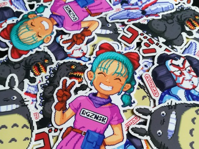 Pixel Stickers godzilla dragon ball totoro japan drawing digital art design illustration videogames game art sticker stickers pixel art