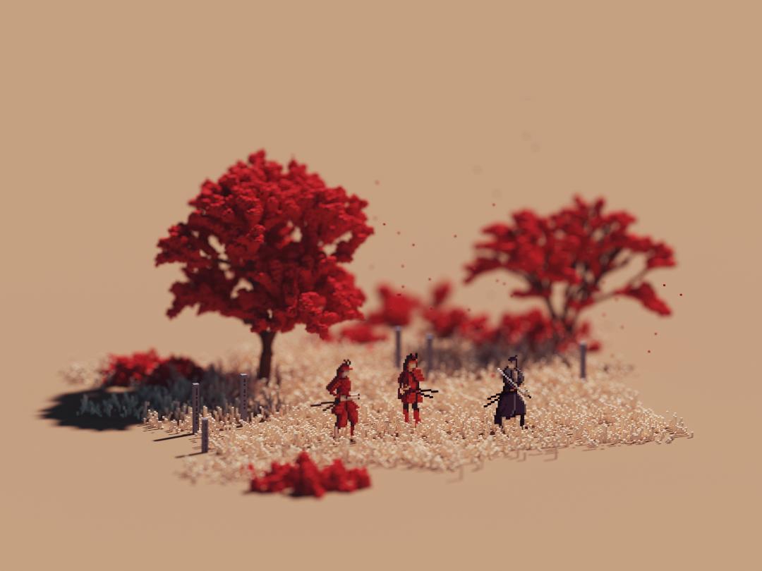 Evening japan videogames pixel art voxel art lowpoly voxel magicavoxel isometric 3d