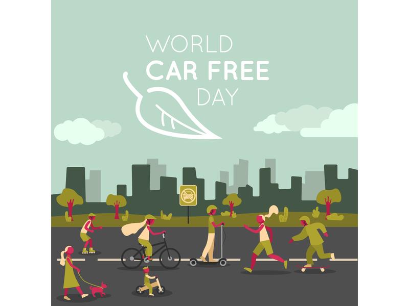 World car free day for Freepik freepik bike city design greens ecofriendly vector illustrator illustration