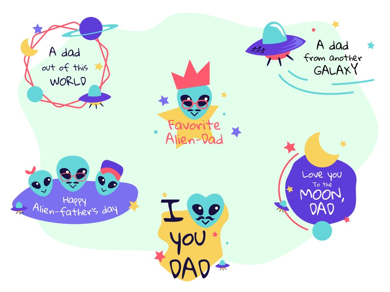 Fathers day labels badges for Freepik drawing father alien badges labels procreate vector illustrator freepik design illustration