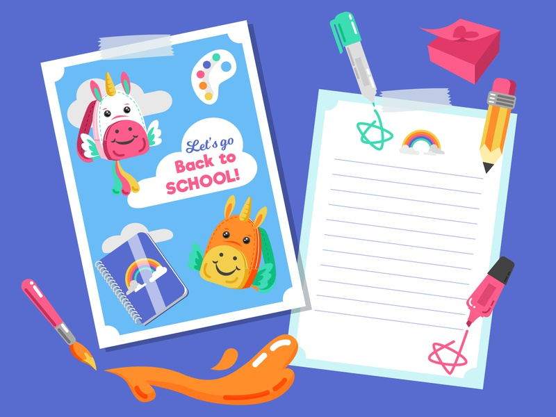Back to School Card for Freepik template card school rainbow cute unicorn vector illustrator freepik design illustration