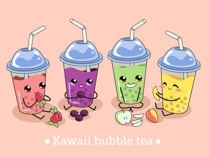 Kawaii bubble tea for Freepik cute cartoon character procreate draw freepik vector illustrator design illustration