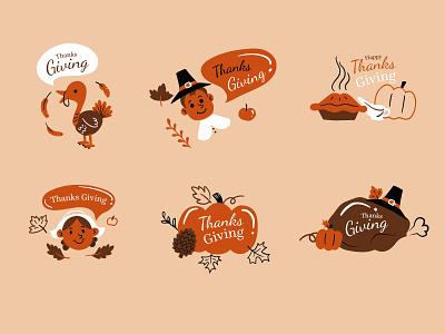 Thanks giving labels for Freepik labels cartoon procreate draw freepik vector illustrator design illustration