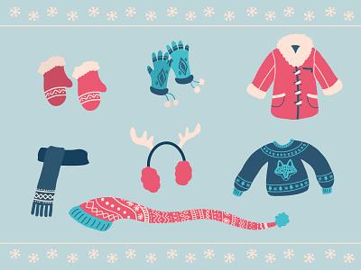 Winter clothes for Freepik illustrations winter clothes cute procreate draw freepik vector illustrator design illustration