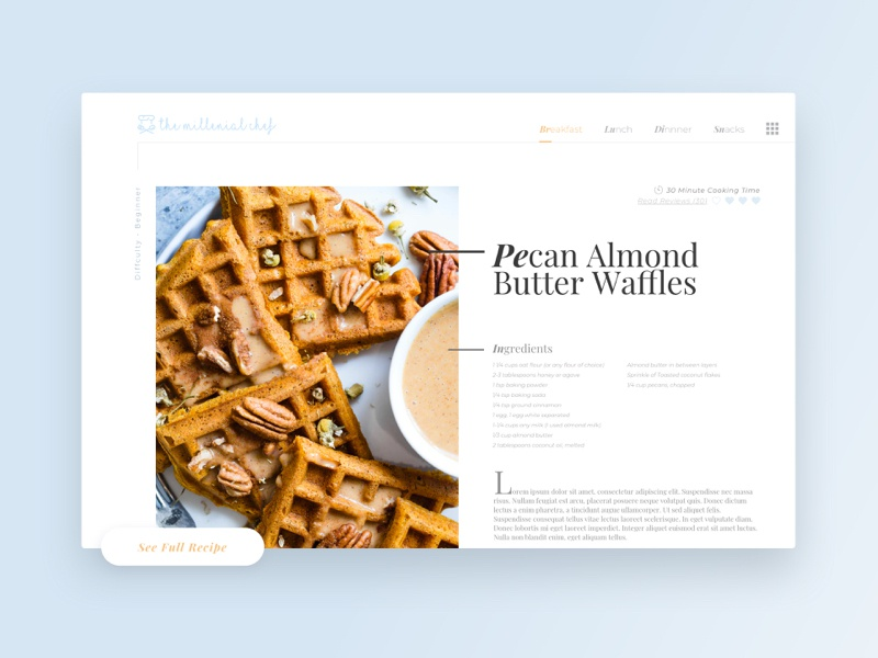 DailyUI 040 - Recipe blog food and drink interface ux design ux ui design ui design graphic design foodie food cook cooking recipe card recipes recipe dailyui challenge dailyui 040 dailyui 040