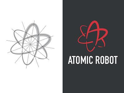 Atomic Robot Logo Concept grid atom ar robot atomic identity branding atomic robot logo